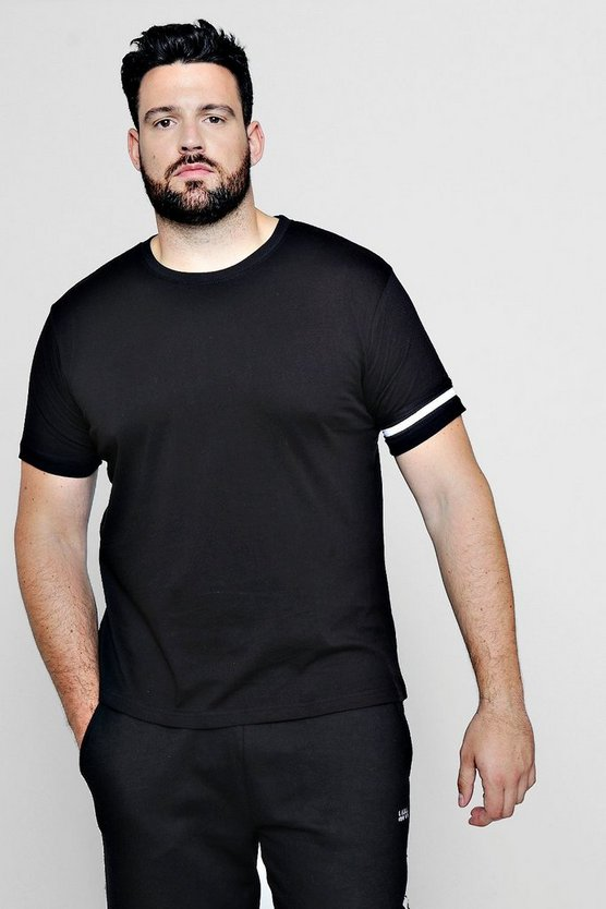 Mens Black Big And Tall Stripe Detail T-Shirt