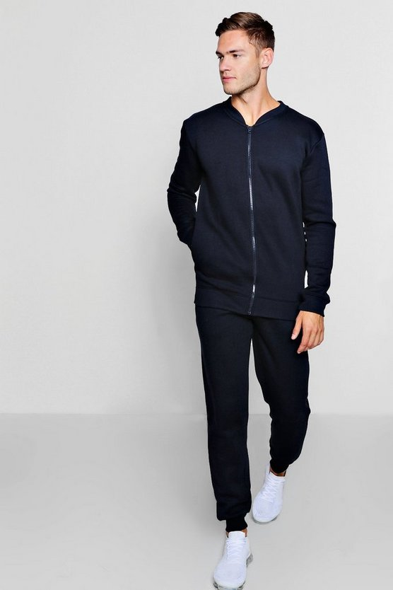 Navy Bomber Neck Fleece Tracksuit