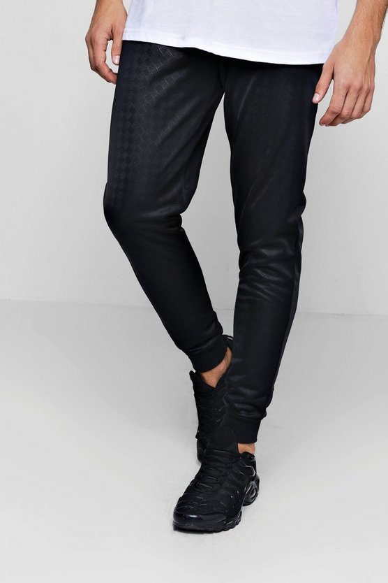 All Over Tonal Geo Print Tricot Skinny Jogger, Black, Uomo