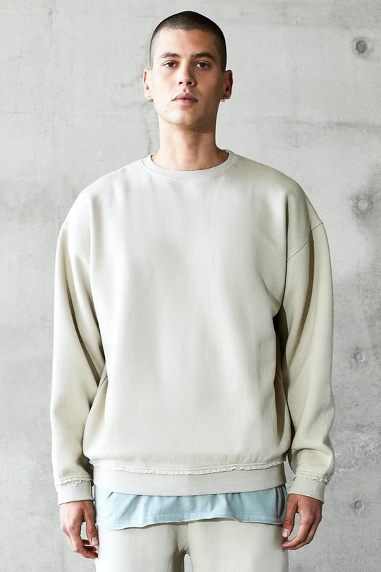 Mens Grey Oversized Heavyweight Washed Sweater