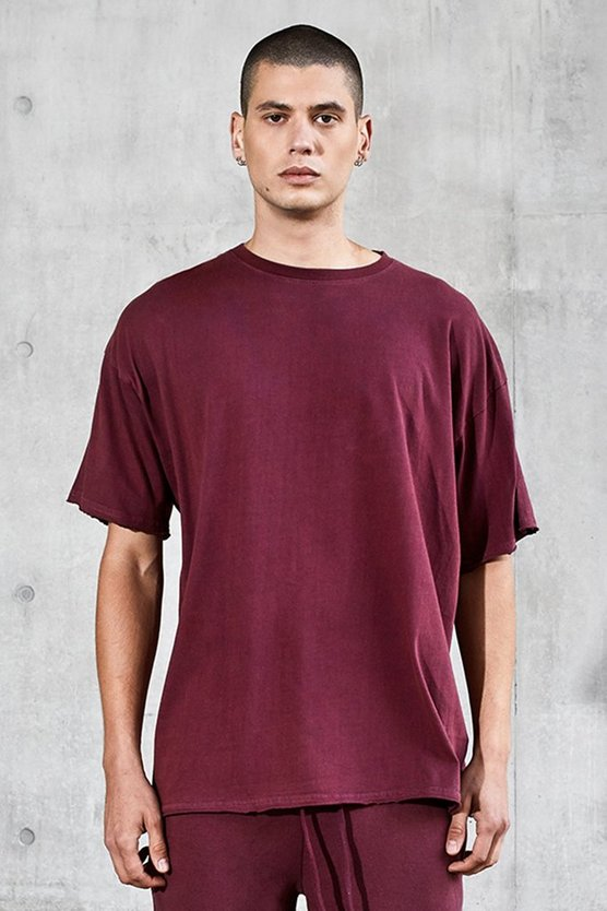 Mens Rose Oversized Heavyweight Raw T-Shirt