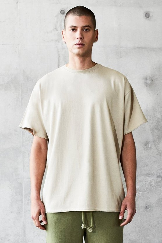 Mens Grey Oversized Heavyweight Raw T-Shirt