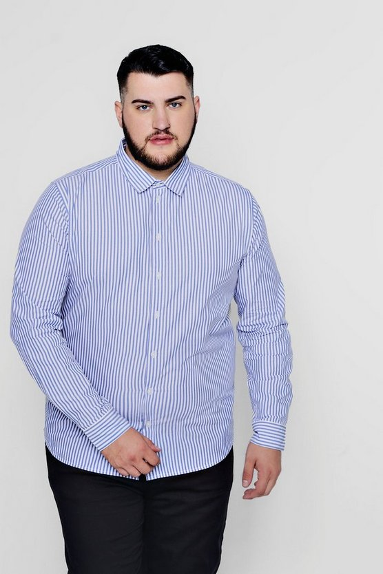 Mens Blue Big And Tall Long Sleeve Stripe Shirt