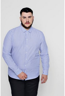 Camiseta con manga larga a rayas Big and Tall, Azul, Hombre