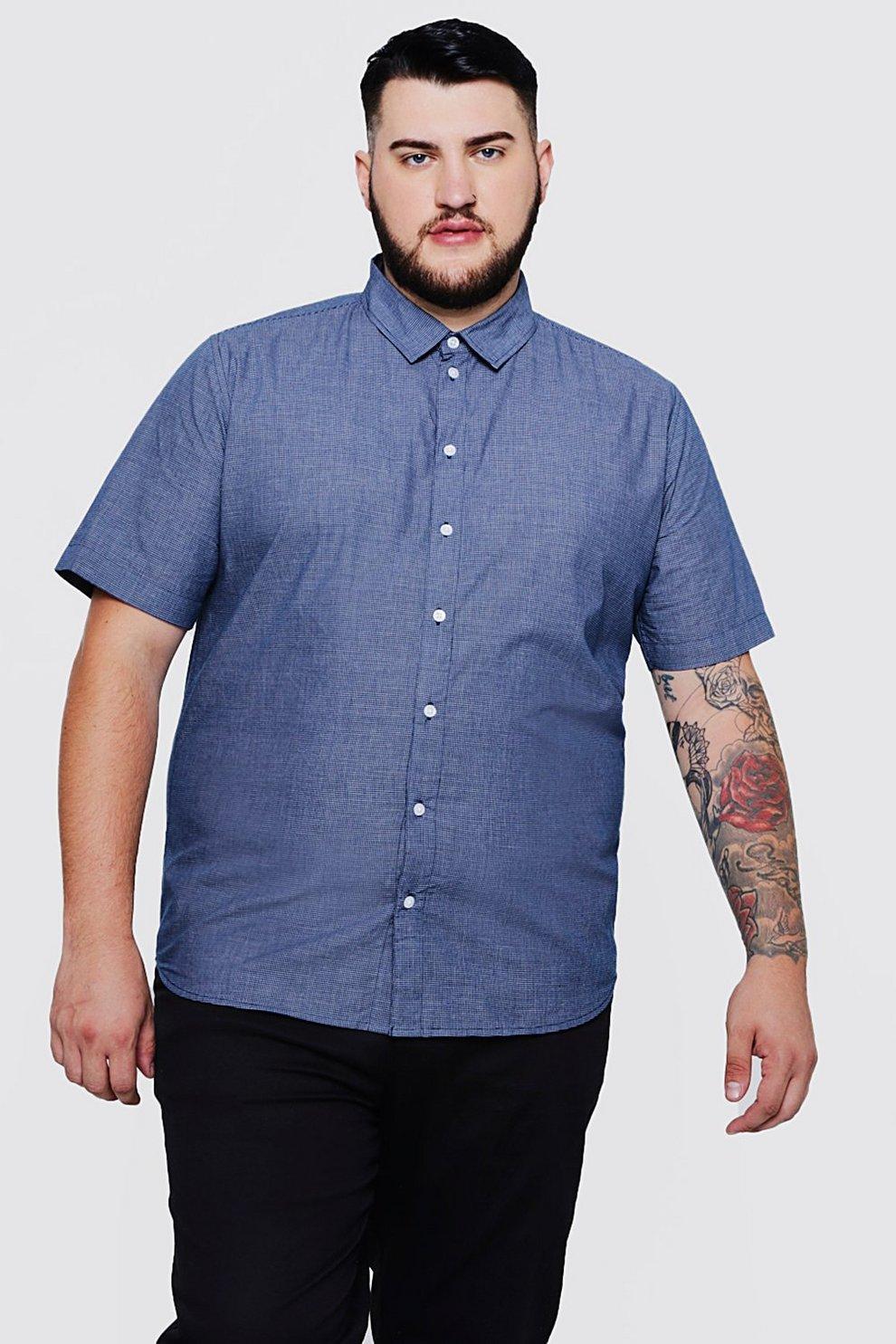 59c4dc2bf Big And Tall Short Sleeve Mini Check Shirt   Boohoo