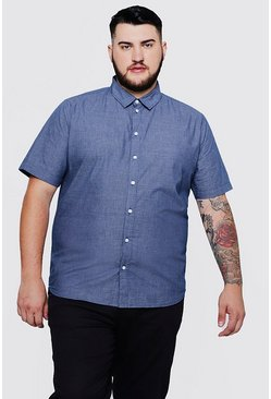 Big And Tall Short Sleeve Mini Check Shirt, Navy, Uomo