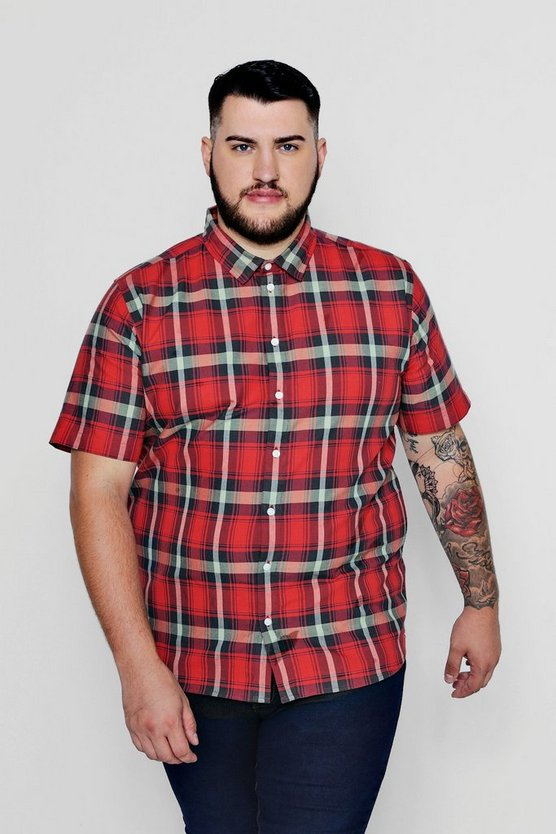 Red Big And Tall Short Sleeve Check Shirt