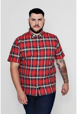 Big And Tall Short Sleeve Check Shirt, Red, Uomo