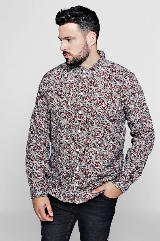 Big And Tall Paisley Print Long Sleeve Shirt