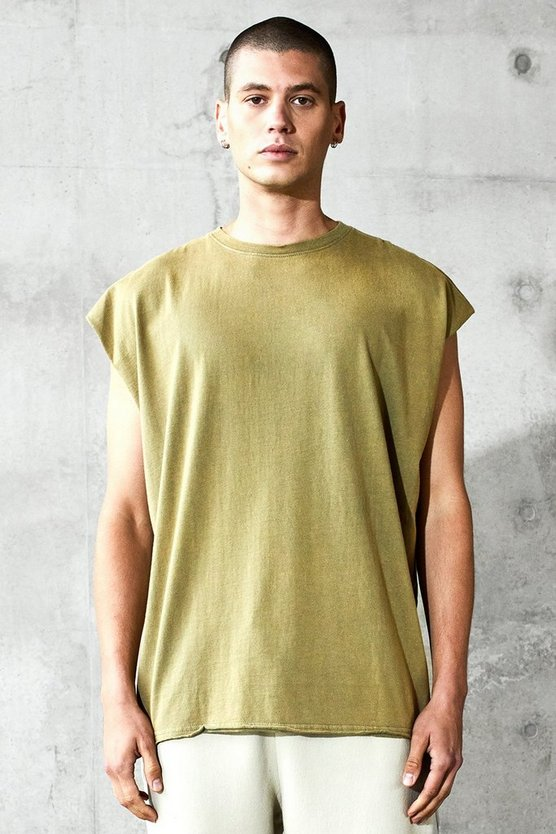 Mens Sage Oversized Heavyweight Tank