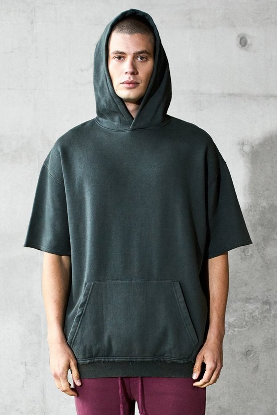 Mens Brown Oversized Short Sleeve Heavyweight Hoodie