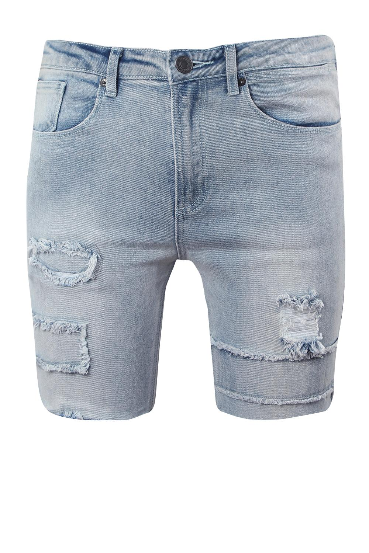 Work Shorts blue Denim Skinny light Patch With Fit q7XxxPf