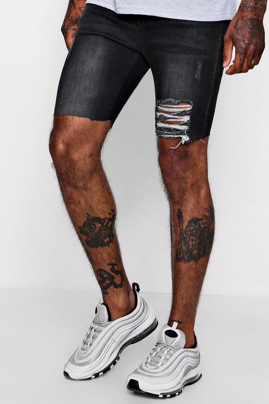 Spray On Charcoal Denim Shorts