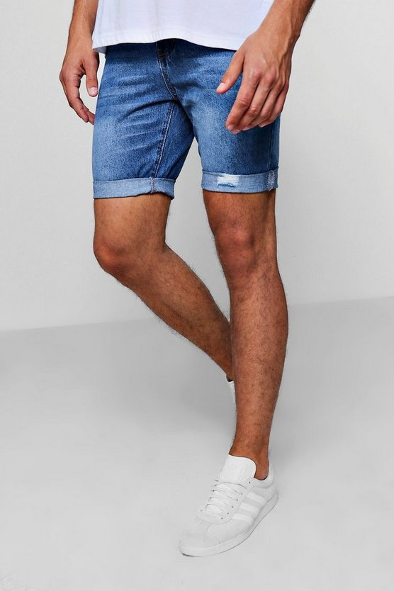 Skinny Fit Mid Blue Denim Shorts