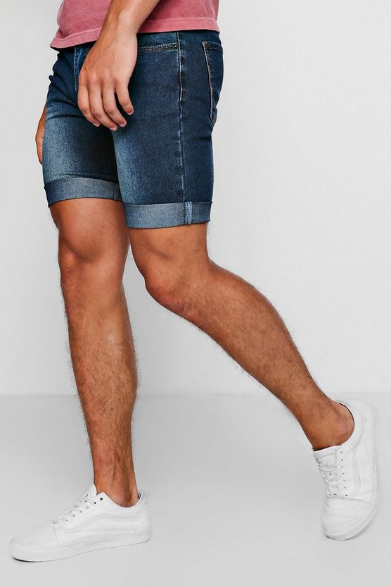 Skinny Fit Washed Blue Denim Shorts