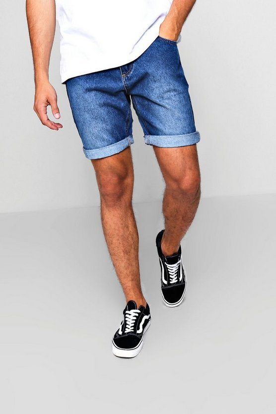 Slim Fit Mid Blue Denim Short