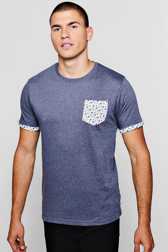 Star Pocket Print Marl T-Shirt