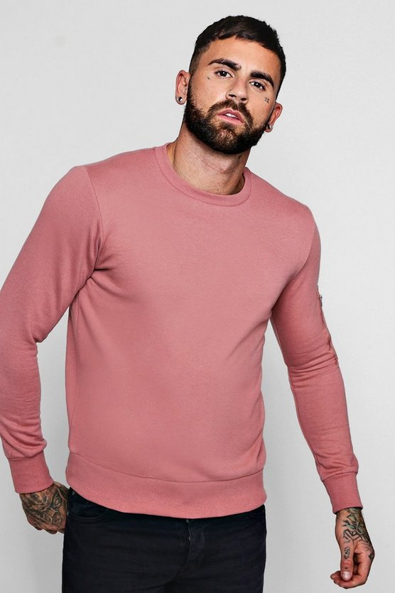Mens Pink MA1 Pocket Sleeve Detail Sweater