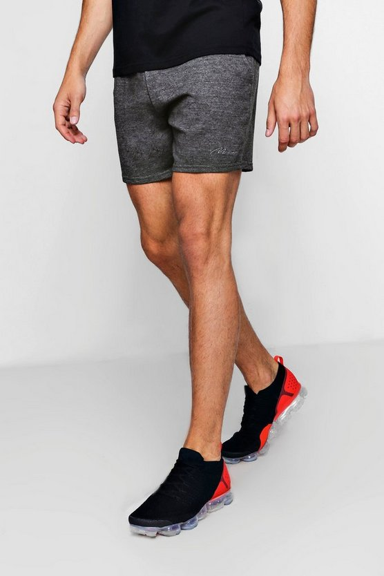 MAN Signature Embroidered Jersey Short, Charcoal, Uomo