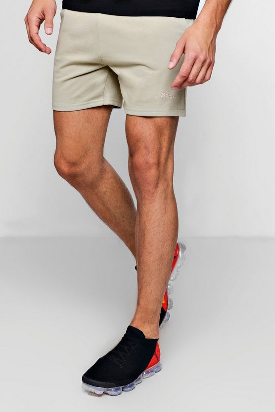 MAN Signature Embroidered Jersey Short