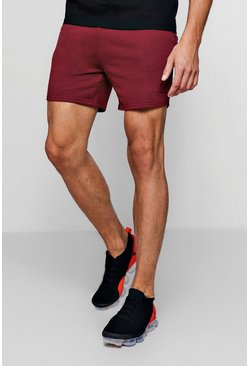 MAN Signature Embroidered Jersey Short, Wine, Uomo