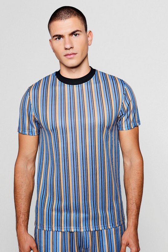 Mens Blue Short Sleeve Stripe Mesh Tee