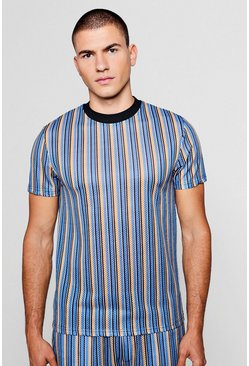 Short Sleeve Stripe Mesh Tee, Blue, Uomo