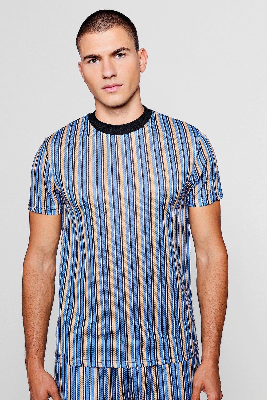 Mesh Sleeve Tee Short Stripe blue awz6qcPp