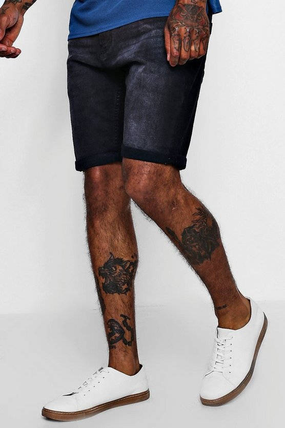 Short en denim coupe skinny, Noir, Homme