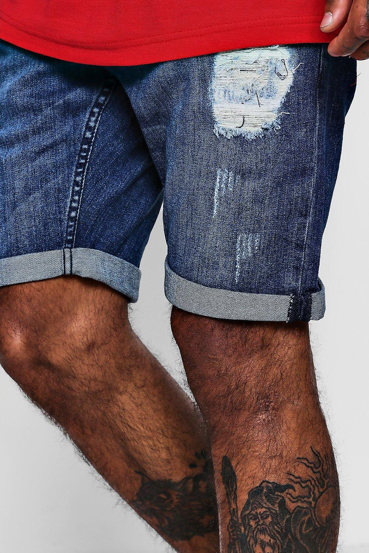 mid Stretch Shorts Ripped wash Denim Skinny wRn8xpp