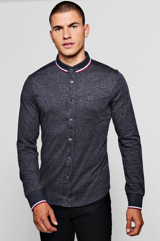 Charcoal Jersey Shirt With Tipped Collar
