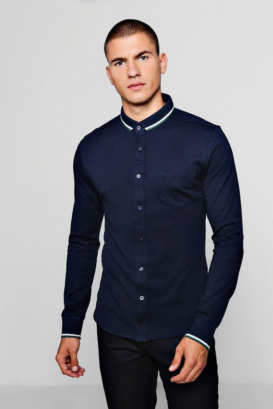 Jersey Shirt With Tipped Collar