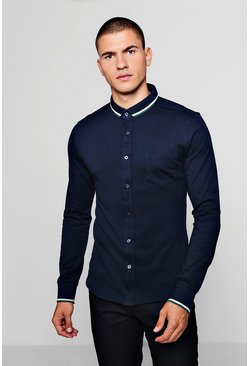 Mens Navy Jersey Shirt With Tipped Collar