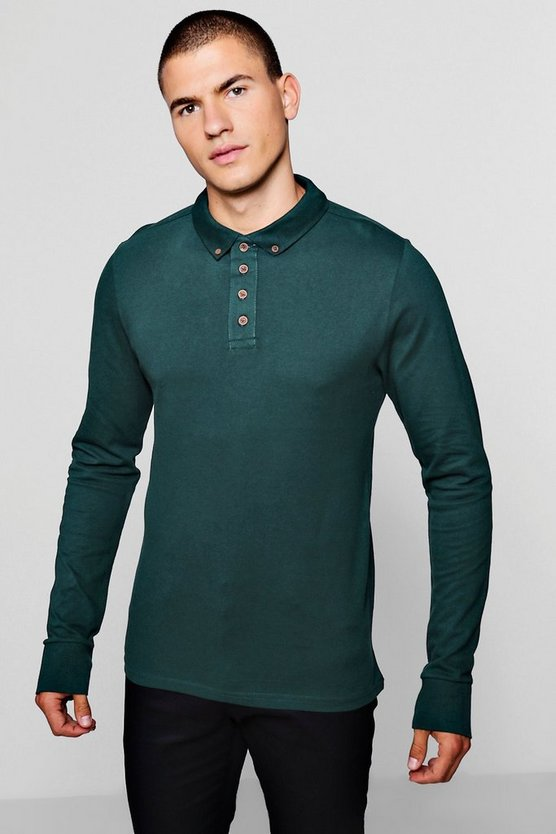 Long Sleeve Button Pique Polo
