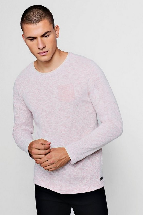 Long Sleeve Slub Melange T-Shirt