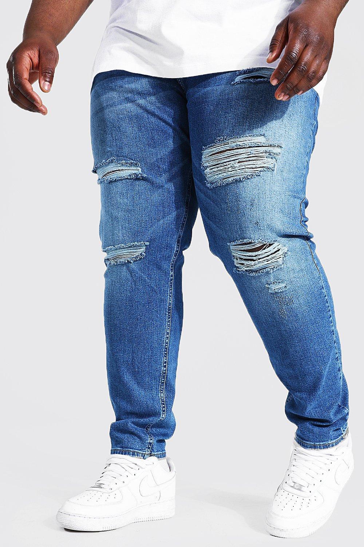 Men's Vintage Pants, Trousers, Jeans, Overalls Mens Plus Skinny Stretch Multi Rip Jean - Blue $24.00 AT vintagedancer.com