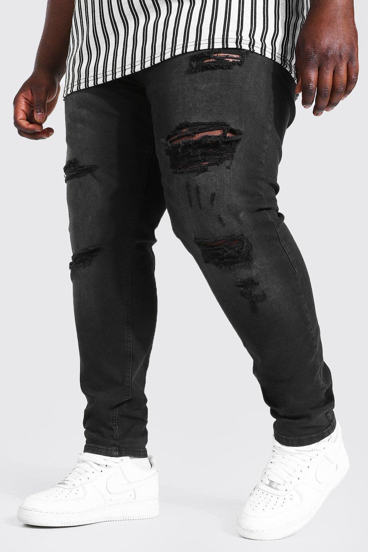 Men's Vintage Pants, Trousers, Jeans, Overalls Mens Plus Skinny Stretch Multi Rip Jean - Black $24.00 AT vintagedancer.com