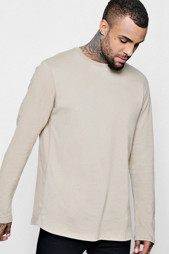 Mens Pumice stone Long Sleeve Longline T-Shirt With Curve Hem