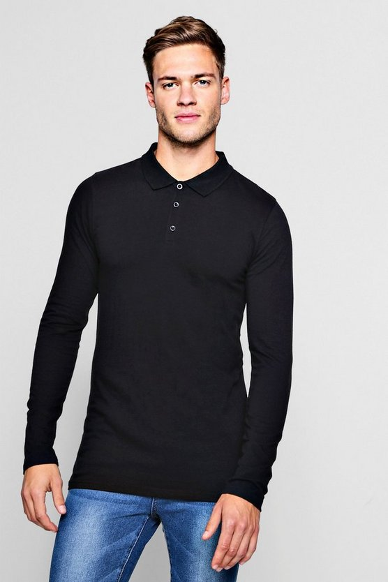 Mens Black Long Sleeve Extreme Muscle Fit Polo