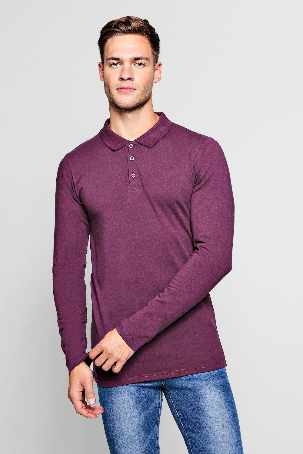 1377693f6 Long Sleeve Extreme Muscle Fit Polo | Boohoo