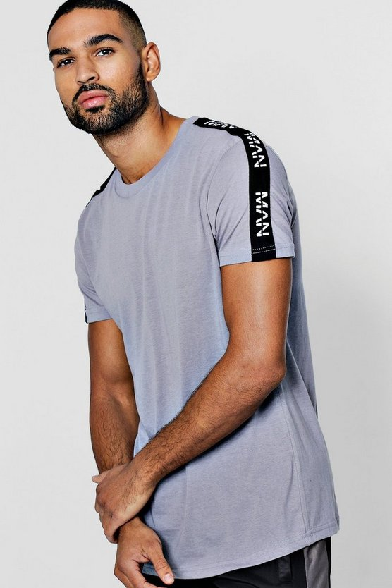Longline Curved Hem T-Shirt With Man Tape