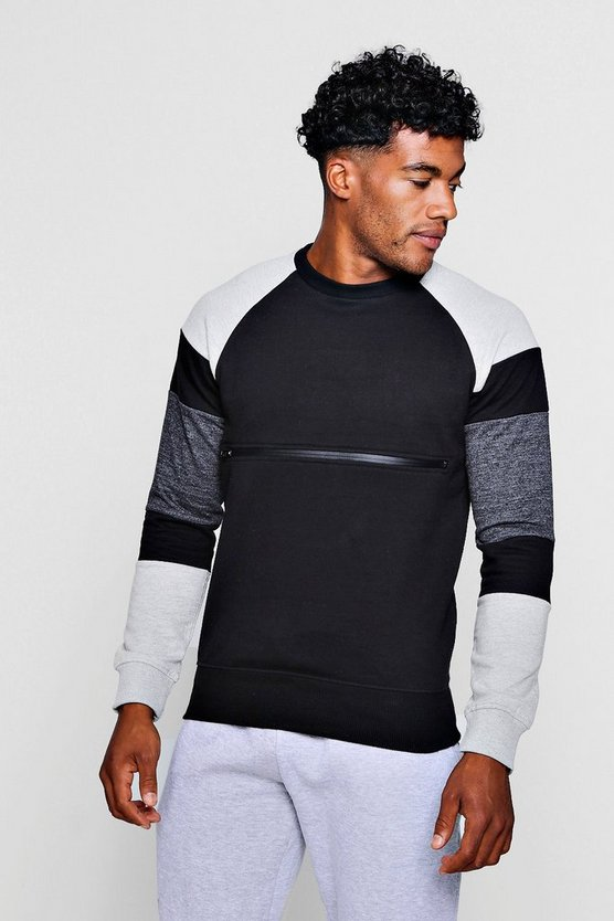 Mens Black Colour Block Zip Chest Crew Neck Sweater