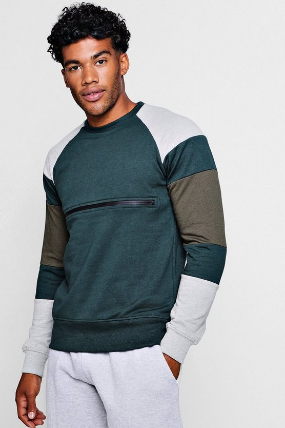 Mens Forest Colour Block Zip Chest Crew Neck Sweater