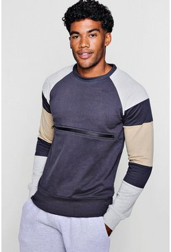 Mens Grey Colour Block Zip Chest Crew Neck Sweater