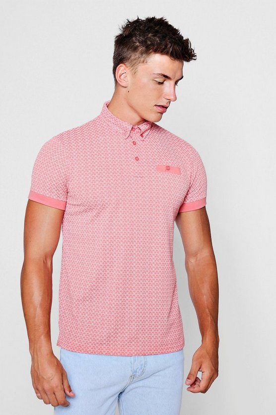 All Over Print Geo Polo Shirt