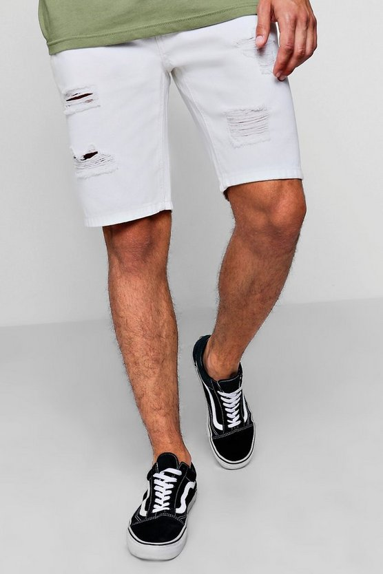 Skinny Fit White Denim Short