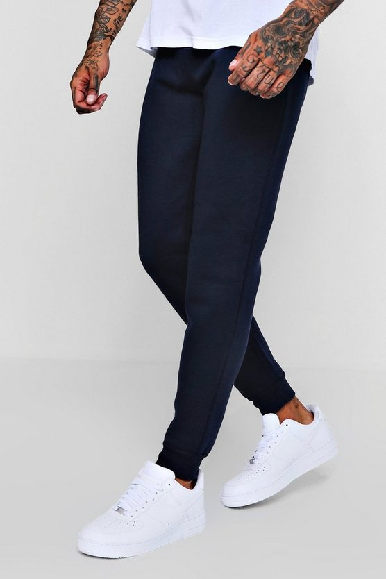 Mens Navy Skinny Fit Basic Fleece Joggers