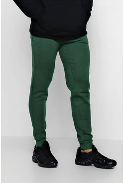 Mens Green Slim Fit Fleece Joggers