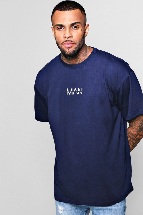 Oversized Original Man Logo Print T-Shirt