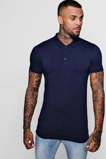 Navy Short Sleeve Muscle Fit Polo